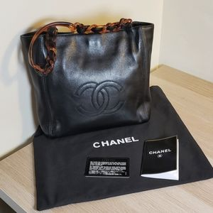 Chanel Black Leather Cavier Tortoiseshell Tote